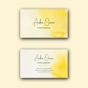 Biglietto da visita aziendale dell'acquerello giallo