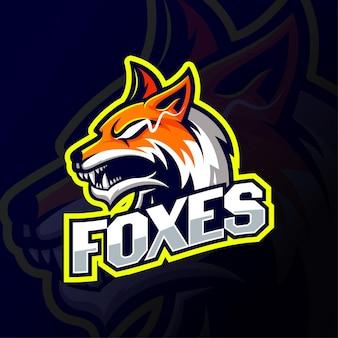 Logo esport mascotte testa di volpe arrabbiata gialla e bianca. disegno del logo della testa di volpe vista laterale