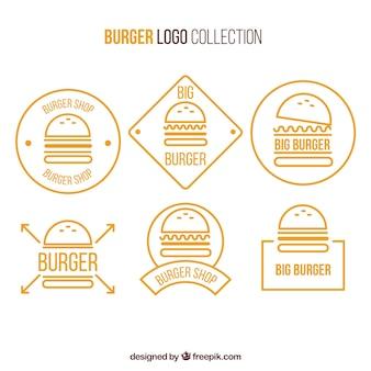 Collezione di logo hamburger giallo e bianco