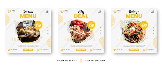 Posta sociale di media dell'insegna del menu dell'alimento giallo e bianco.