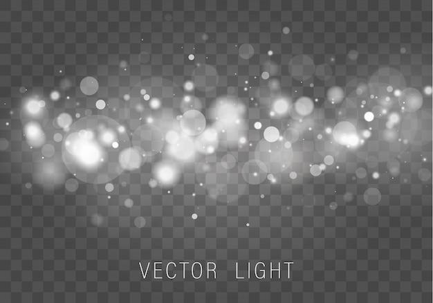 Effetto di luci d'ardore astratto del bokeh della luce dell'oro bianco giallo isolato su fondo trasparente. festivo sfondo luminoso viola e dorato. concetto. cornice a luce sfocata.