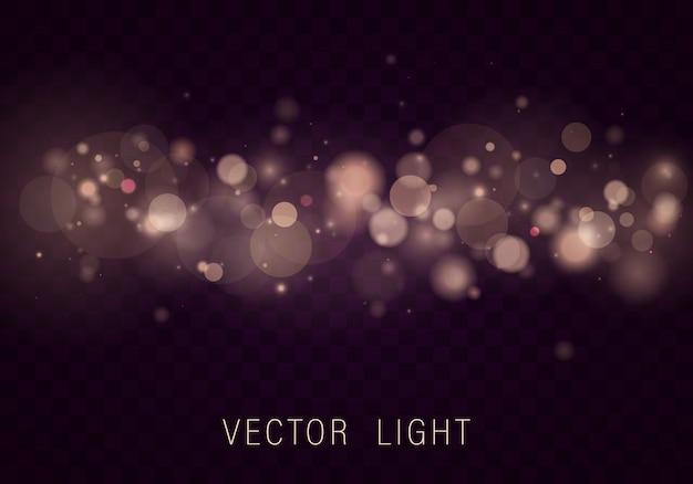 Effetto di luci d'ardore astratto del bokeh della luce dell'oro bianco giallo isolato su fondo trasparente. festivo sfondo luminoso viola e dorato. concetto. luce sfocata