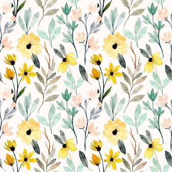 Modello senza cuciture dell'acquerello floreale selvaggio giallo