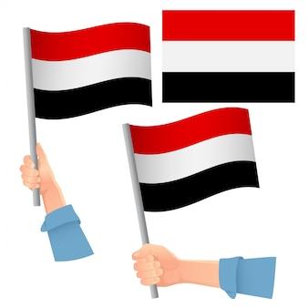Bandiera dello yemen in mano insieme