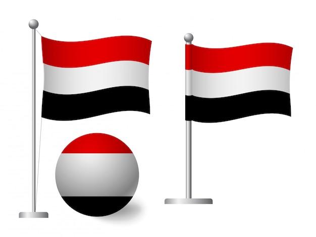 Bandiera dello yemen su icona palo e palla