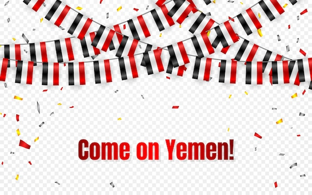 Ghirlanda di bandiere dello yemen su sfondo trasparente con coriandoli. appendi stamina per banner modello celebrazione festa dell'indipendenza dello yemen,