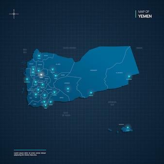 Mappa dello yemen con punti luce al neon blu