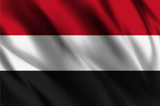 Bandiera nazionale dello yemen ondeggiante sfondo di seta