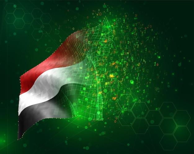Yemen, vettore 3d bandiera su sfondo verde con poligoni e numeri di dati