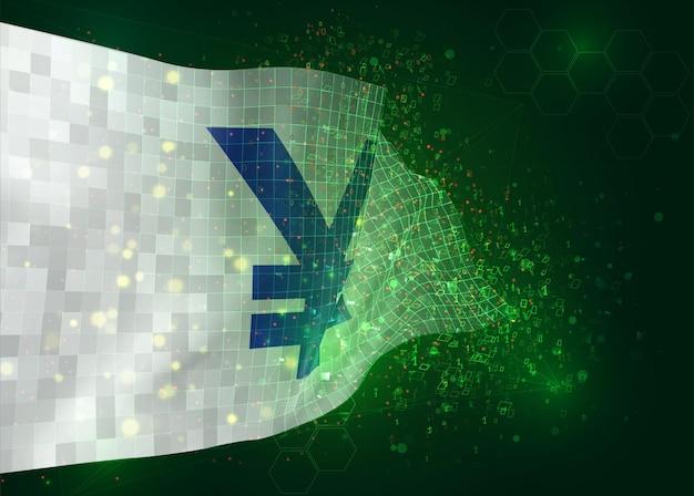 Valuta yen su bandiera 3d vettoriale su sfondo verde con poligoni e numeri di dati