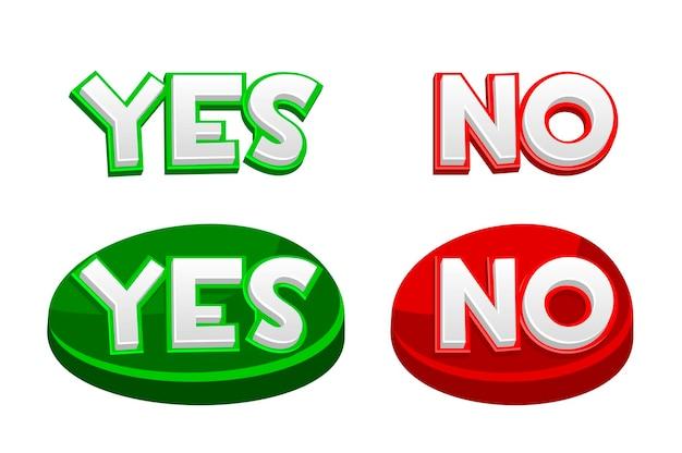 Sì o no pulsanti, icone per i giochi dell'interfaccia utente. Vettore Premium