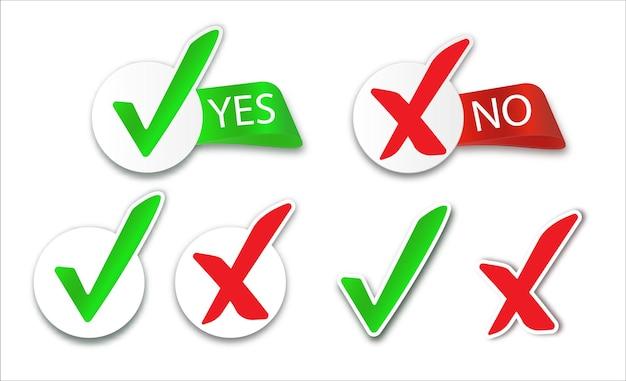 Sì e nessun segno di spunta icone di segni di spunta incrociati set di pulsanti rotondi piatti