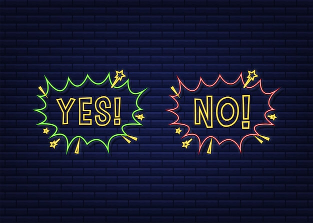 Sì e no nuvoletta in stile pop art. concetto di feedback. concetto di feedback positivo. icona al neon. illustrazione di riserva di vettore.