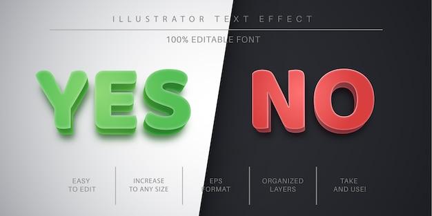 Sì e ora effetto di testo modificabile, stile del carattere