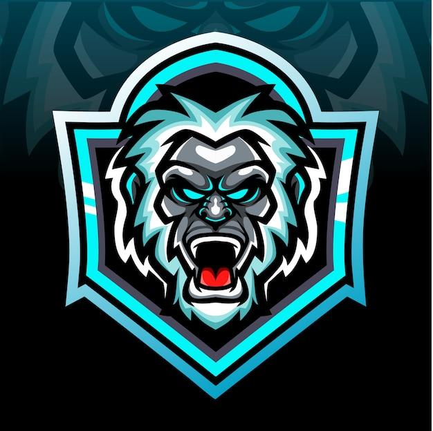 Mascotte della testa di yeti. design del logo esport