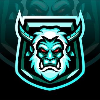 Mascotte della testa di yeti. logo esport