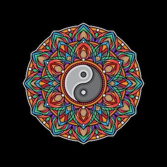 Mandala colorato di yin yang