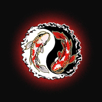 Yin yang illustrazione di pesce koi