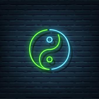 Elementi di segno al neon di yin yang