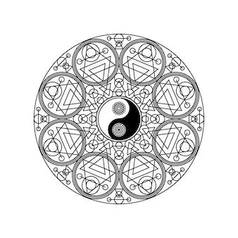 Simbolo di yin yang in cerchio modello geometrico orientale isolato su sfondo bianco illustrazione vettoriale. segno di mandala tradizionale per il concetto di yoga o meditazione