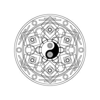 Simbolo yin yang nel motivo geometrico orientale