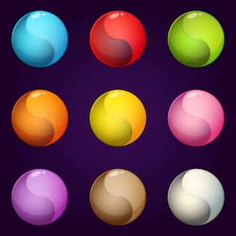 I colori dell'icona del cerchio simbolo yinyang hanno impostato uno stile lucido e luminoso.