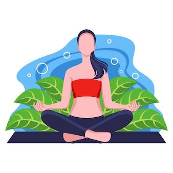 Illustrazione di design piatto attività yoga