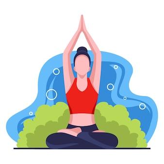 Illustrazione di design piatto attività yoga Vettore Premium