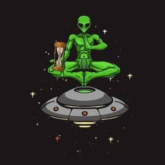 Alieni di yoga che tengono la vecchia illustrazione dell'orologio