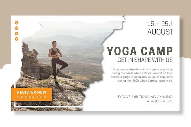 Modello di banner del campo di yoga