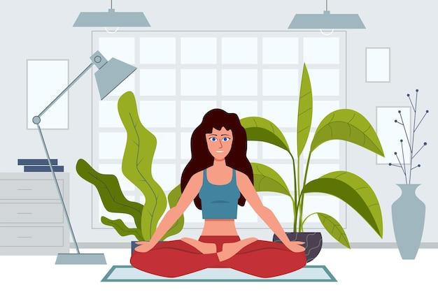 Illustrazione di personaggi di yoga