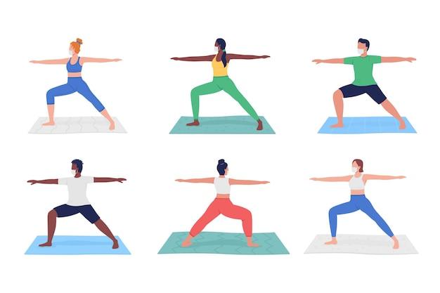 Lezione di yoga durante il set di caratteri senza volto piatto pandemico. diverse persone che si esercitano in maschere hanno isolato il fumetto