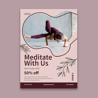 Modello di volantino di lezione di yoga