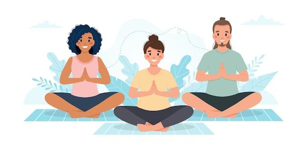 Lezione di yoga. persone che praticano yoga insieme.