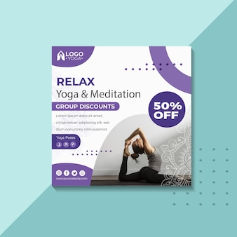Modello di volantino quadrato di classe di yoga