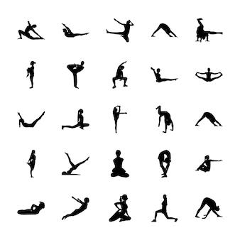 Icone di yoga ed esercizio fisico