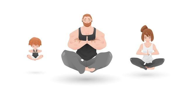 Yoga family character design set atmosfera zen