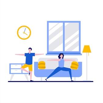 Lezioni di famiglia di yoga con coppia facendo allenamento fitness sport attività di salute a casa in design piatto