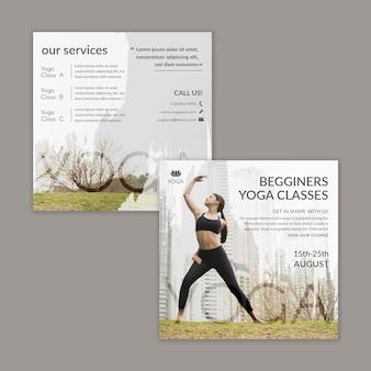 Modello di volantino yoga con foto