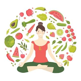 Ragazza di yoga e cibo sano