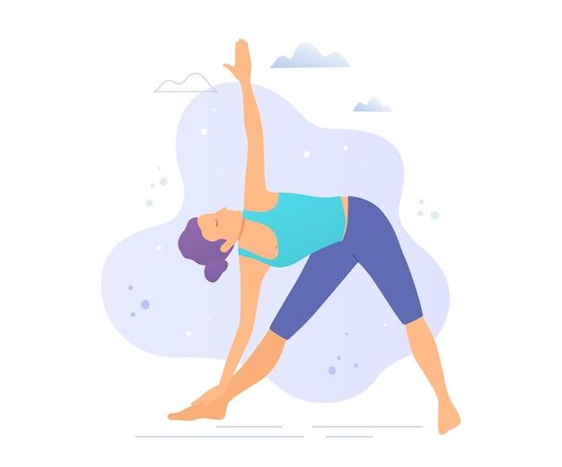 Ragazza di yoga in un'illustrazione di vettore del parco. uno stile di vita sano.