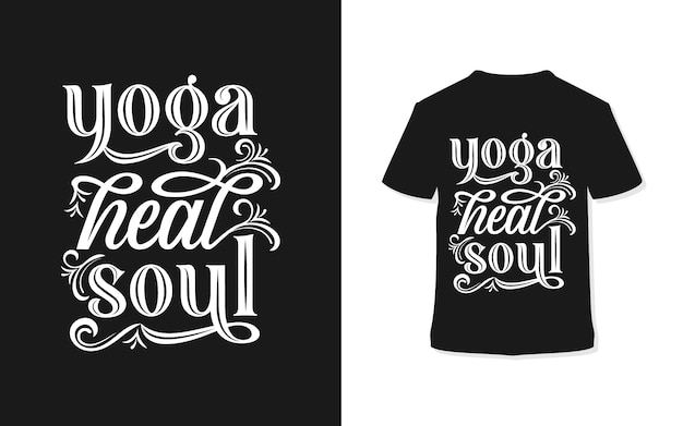 Design t-shirt tipografia yoga heal soul