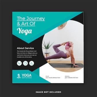 Post di yoga su instagram e banner sui social media di yoga a casa