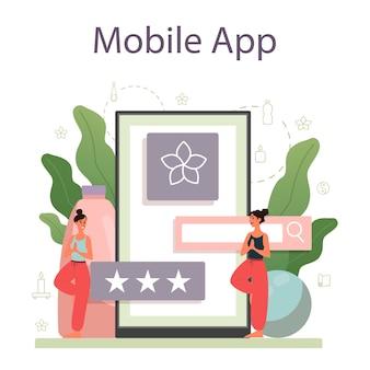 Servizio o piattaforma online per istruttori di yoga. asana o esercizio per uomini e donne. salute fisica e mentale. app mobile per istruttore personale.