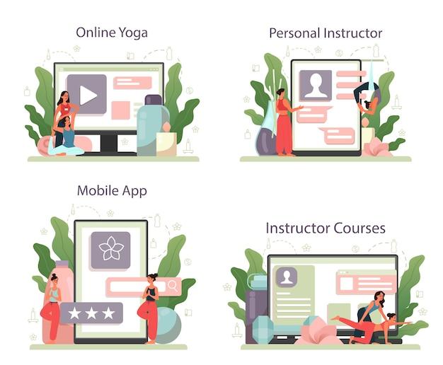 Servizio online di istruttore di yoga o set di piattaforme. asana o esercizio per uomini e donne. salute fisica e mentale. yoga online, corso per istruttori, app mobile per istruttori personali.