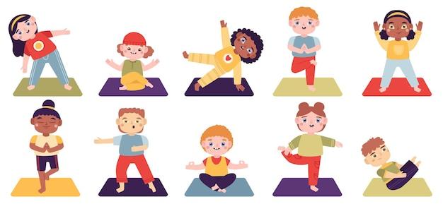 Bambini di yoga. i bambini fanno esercizi di yoga, ragazzi e ragazze insieme di illustrazione di stile di vita sano