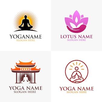 Logo yoga e fiore di loto con concetto di centro benessere e sagoma umana
