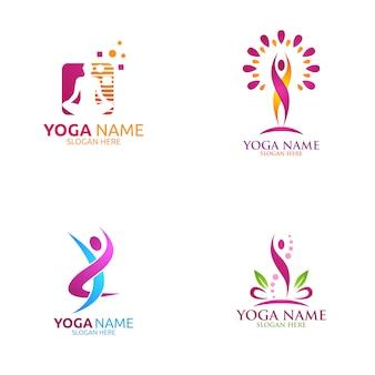 Logo di yoga e fiore di loto con centro benessere