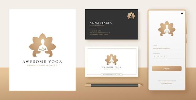 Meditazione yoga nel design del logo a forma di fiore e del biglietto da visita