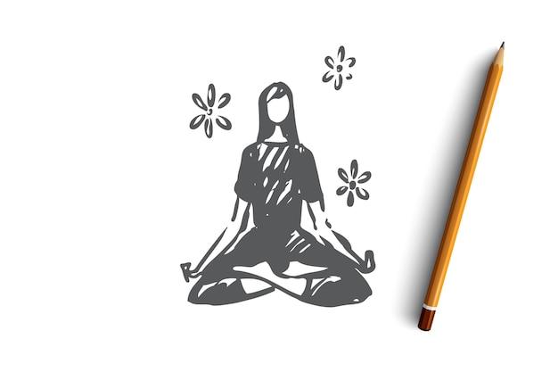 La salute della meditazione di yoga si rilassa la donna del loto che si siede nella posa di yoga.